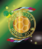 Brasil 2014 sello. Background Soccer   Football   Tournament brasil 2014 gold Royalty Free Stock Images