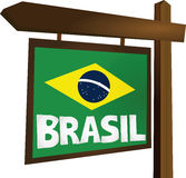 Brasil sign. Wooden soccer sign Brasil vector vector illustration