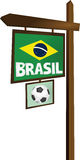 Brasil sign. Wooden soccer sign Brasil vector stock illustration