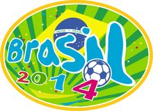Brasil 2014 Soccer Football Ball. Illustration of a football soccer ball with Brazil Brazilian flag in background with words Brasil 2014 set inside oval on Royalty Free Stock Image