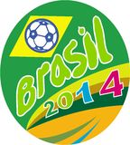 Brasil 2014 Soccer Football Ball Oval. Illustration of a football soccer ball with Brazil Brazilian flag in background with words Brasil 2014 set inside oval on Stock Photos