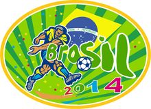 Brasil 2014 Soccer Football Player Oval Retro. Illustration of a Brazil football player kicking soccer ball with Brazilian flag in background with words Brasil Stock Illustration