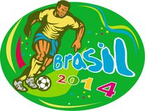 Brasil 2014 Soccer Football Player Run Retro. Illustration of a Brazil football player kicking soccer ball set inside ova in isolated background with words Stock Image