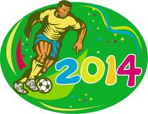 Brasil 2014 Soccer Football Player Run Retro Stock Photo