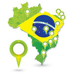 Brasil Soccer green map and match Royalty Free Stock Image