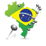 Brasil Soccer green map and match Royalty Free Stock Photo