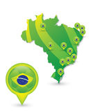 Brasil Soccer green map and match Stock Photo