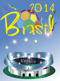 Brasil 2014 Stadium. Brasil 2014 world cup fotball royalty free illustration