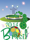 Brasil 2014 Stadium. Brasil 2014 world cup fotball stock illustration