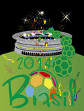 Brasil 2014 Stadium. Brasil 2014 world cup fotball vector illustration