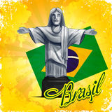 Brasil statue. Banner yellow vintage vector illustration