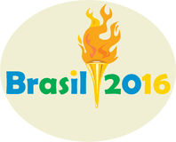 Brasil 2016 Summer Games Flaming Torch. Illustration of flames flaming torch viewed from front with words Brasil 2016 depicting the summer games on isolated vector illustration