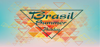 Brasil summer holiday card with triangles over pastel colored background, in outlines Royalty Free Stock Photo