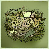 Brasil Summer Vector hand lettering and doodles Royalty Free Stock Photos