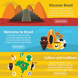 Brasil travel banner horizontal set, flat style. Brasil travel banner horizontal concept set. Flat illustration of 3 brasil travel vector banner horizontal stock illustration