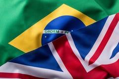 Brasil and UK. Brasil flag an UK Flag.  British Union Jack flag Royalty Free Stock Photo