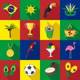 brasil verão Grupo de ícones lisos Desenhos animados e estilo liso Ilustração do vetor ilustração stock