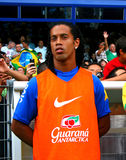 Brasil vs Algeria. Brasil's Ronaldinho during the International Friendly soccer match, Brasil vs Algeria, in La Mosson Stadium in Montpellier, France, on August royalty free stock photos