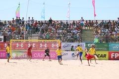 Brasil vs Portugalia - Zapałczany Mundialito 2017 Carcavelos Portugalia Zdjęcie Stock
