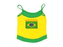 Brasil woman football t-shirt with flag. Stock Photos
