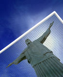 Brasil 2014 World Cup. Concept with Christ the savior in goals and copy-space Stock Photo