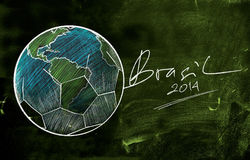 Brasil 2014 World Cup Sketch. Blackboard vector illustration