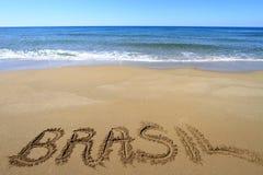 Brasil. Written on sandy beach royalty free stock photos