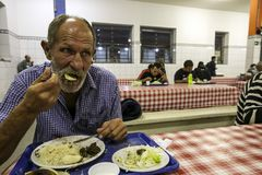 Brasile - San Paolo - The ONG Sermig - the soup kitchen. Sermig is a catholic organization that work in San Paolo to help homeless and poor people royalty free stock photo