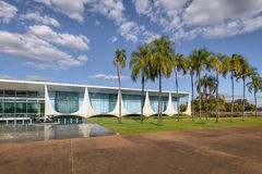 Alvorada Palace, official residence of President of Brazil - Brasilia, Distrito Federal, Brazil. Brasilia, Brasil - Aug 29, 2018: Alvorada Palace, official royalty free stock image