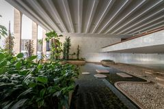 Garden at Entrance Hall of Itamaraty Palace interior - Brasilia, Distrito Federal, Brazil. Brasilia, Brasil - Aug 29 2018: Garden at Entrance Hall of Itamaraty royalty free stock image