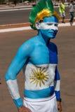 Brasilia, Brasile 10 agosto 2016: Fan di calcio del Honduran fuori dello stadio di Mané Garrincha Fotografie Stock