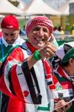 Brasilia, Brasile 4 agosto 2016: I fan di calcio iracheni si riuniscono fuori dello stadio di Mané Garrincha Immagini Stock Libere da Diritti