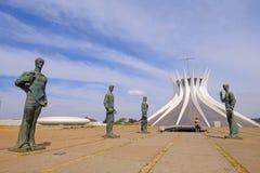 Brasilia, Brasilien, am 7. August 2018: Stadtkathedrale unserer Dame Of Aparecida, entworfen von Oscar Niemeyer, Brasilien lizenzfreies stockbild