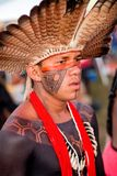"""Brasilia, Brazil-April 25th 2019: Thousands of Indigenous Indians descend upon the capital city of Brasilia. In a movement called """"Acampamento Terra royalty free stock photo"""