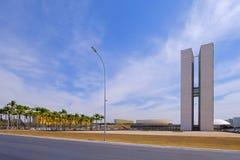 Brasilia, Brazylia, Sierpień 7, 2018: Kongres Narodowy Brazylia w Brasilia, projektujący Oscar Niemeyer, Brazylia obrazy stock