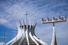 Brasilia Cathedral. Outside view of the cathedral and bells Stock Image