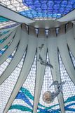 Brasilia Cathedral. View of the stained glass roof inside the Brasilia cathedral Stock Photos