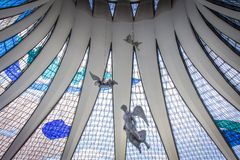 Brasilia Cathedral. View of the stained glass roof inside the Brasilia cathedral Royalty Free Stock Photos