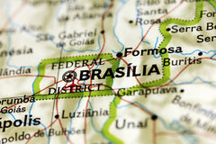 Brasilia on the Map. View of the city of Brasilia, the capital of Brazil, on the map Royalty Free Stock Photos