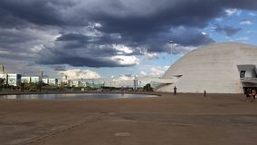Brasilia's sky. The sky of Brasilia : the Ministries of the right, the Republic museum and the beautiful sky of Brasilia in August , when normally it does not stock photography
