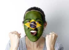 Brasilian fan screaming GOAL Stock Image