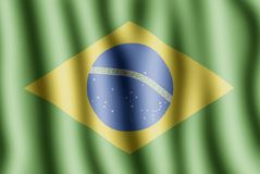 Brasilian flag. This is waving flag of brasil Royalty Free Stock Images