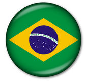Brasilian Flag Button. Glassy Web Button with the flag of Brasil Royalty Free Stock Photo