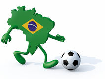 Brasilian map with arms, legs running with a football. 3d illustration stock illustration