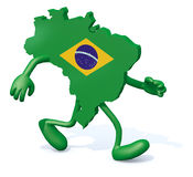 Brasilian map with arms and legs walking Stock Photo