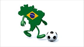Brasilian mapa z rękami, nogi biega z futbolem ilustracja wektor