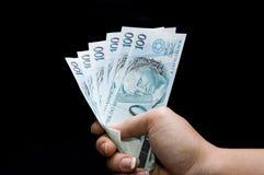 Brasilian real notes Stock Photos
