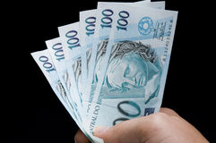 Brasilian real notes Royalty Free Stock Photo