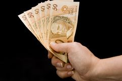 Brasilian real notes Stock Photography