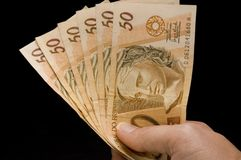 Brasilian real notes Royalty Free Stock Images